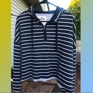 Hollister Cropped Blue and white striped hoodie
